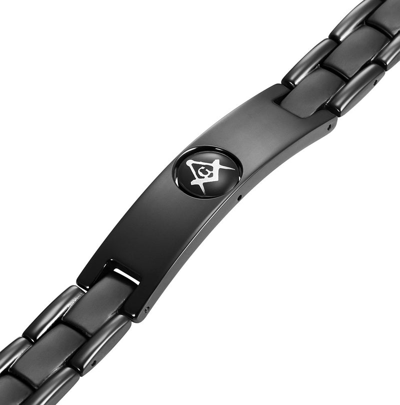 MasonicMan Men's Black Titanium Magnetic Masonic Bracelet - Reversible