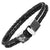 MasonicMan Leather and Stainless Steel Bracelet with Black Carbon Fiber