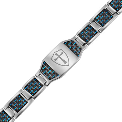 Titanium Bracelet with Blue Carbon Fiber Knights Templar Cross Shield