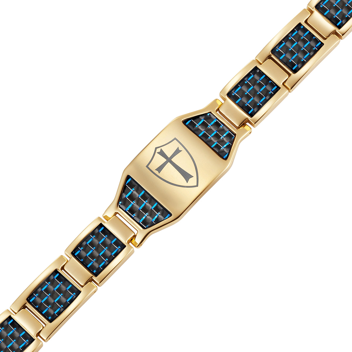 Gold Titanium Bracelet with Blue Carbon Fiber Knights Templar Cross Shield