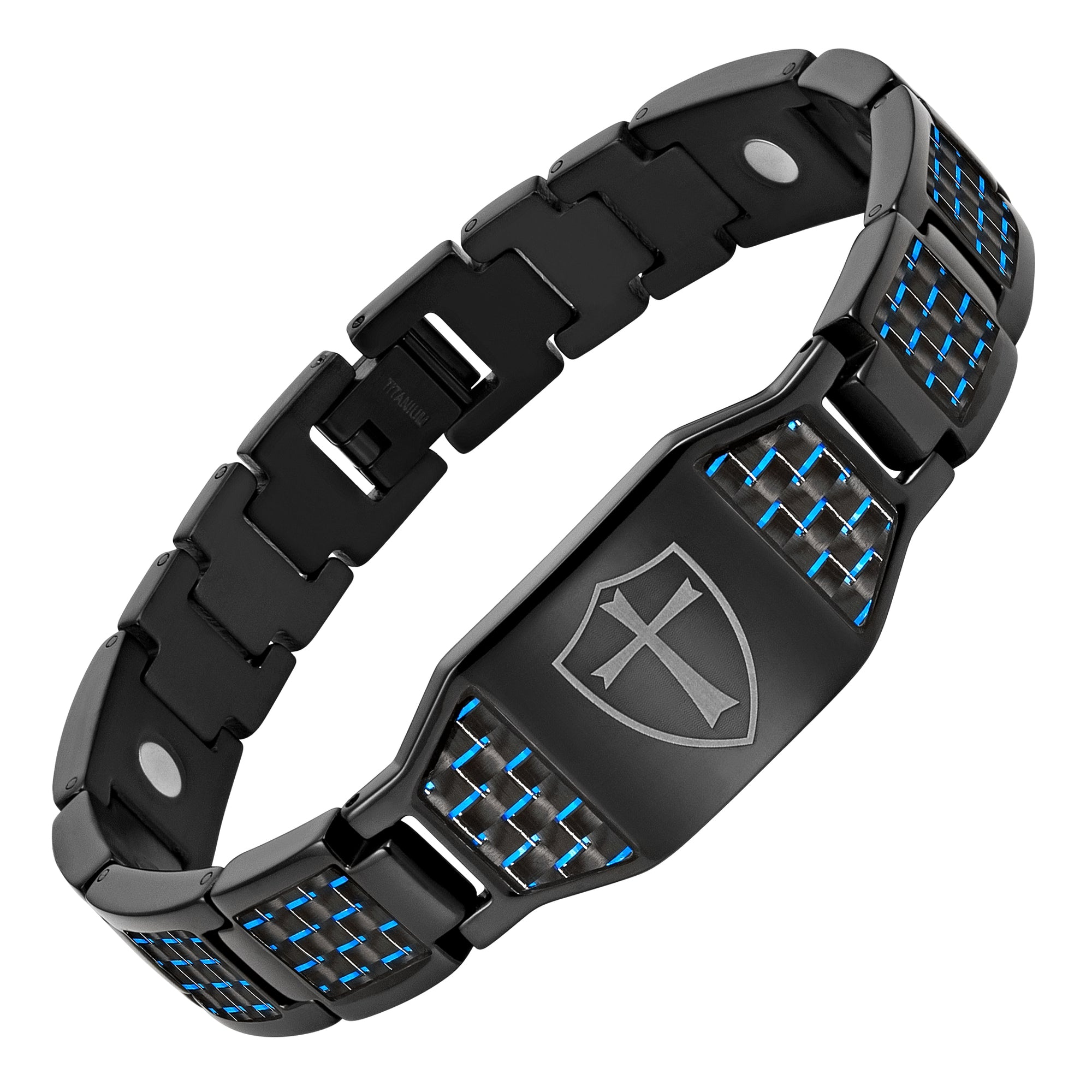 Black Titanium Bracelet with Blue Carbon Fiber Knights Templar Cross Shield
