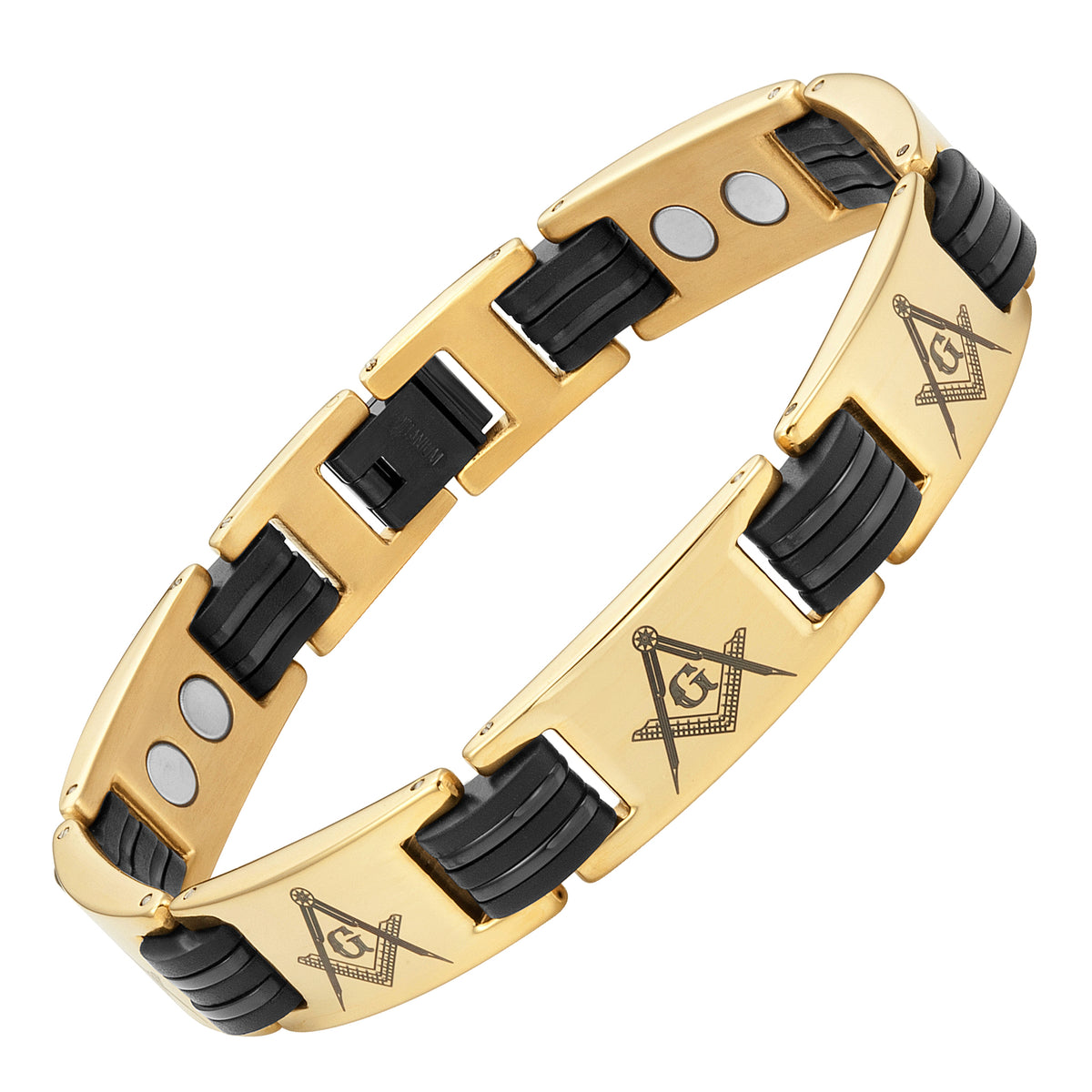2018 Titanium Masonic Link Bracelet - Gold Color