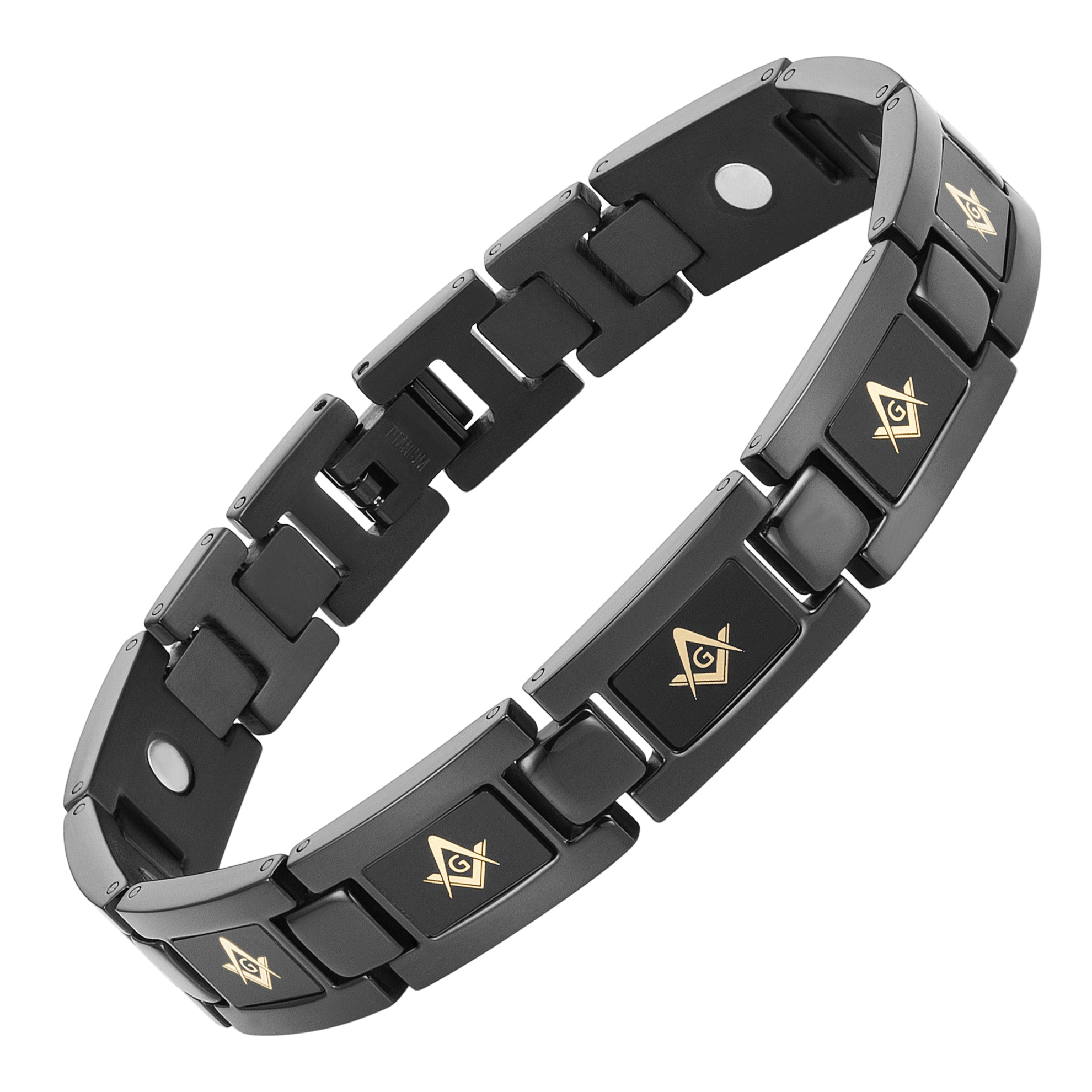 "MasonicMan Black Titanium Bracelet ""Piano Black"""