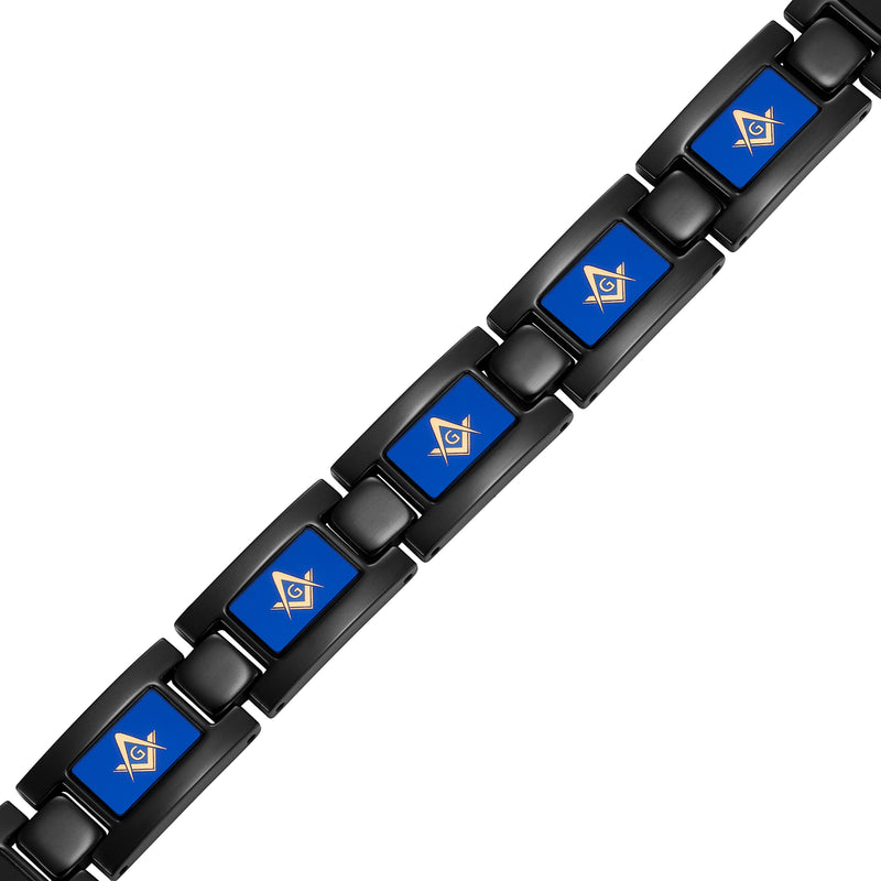 "MasonicMan Black Titanium Bracelet ""Piano Blue"""