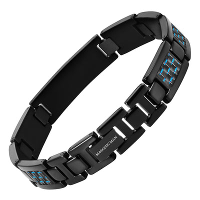 Masonic Black Titanium Bracelet with Blue Carbon Fiber