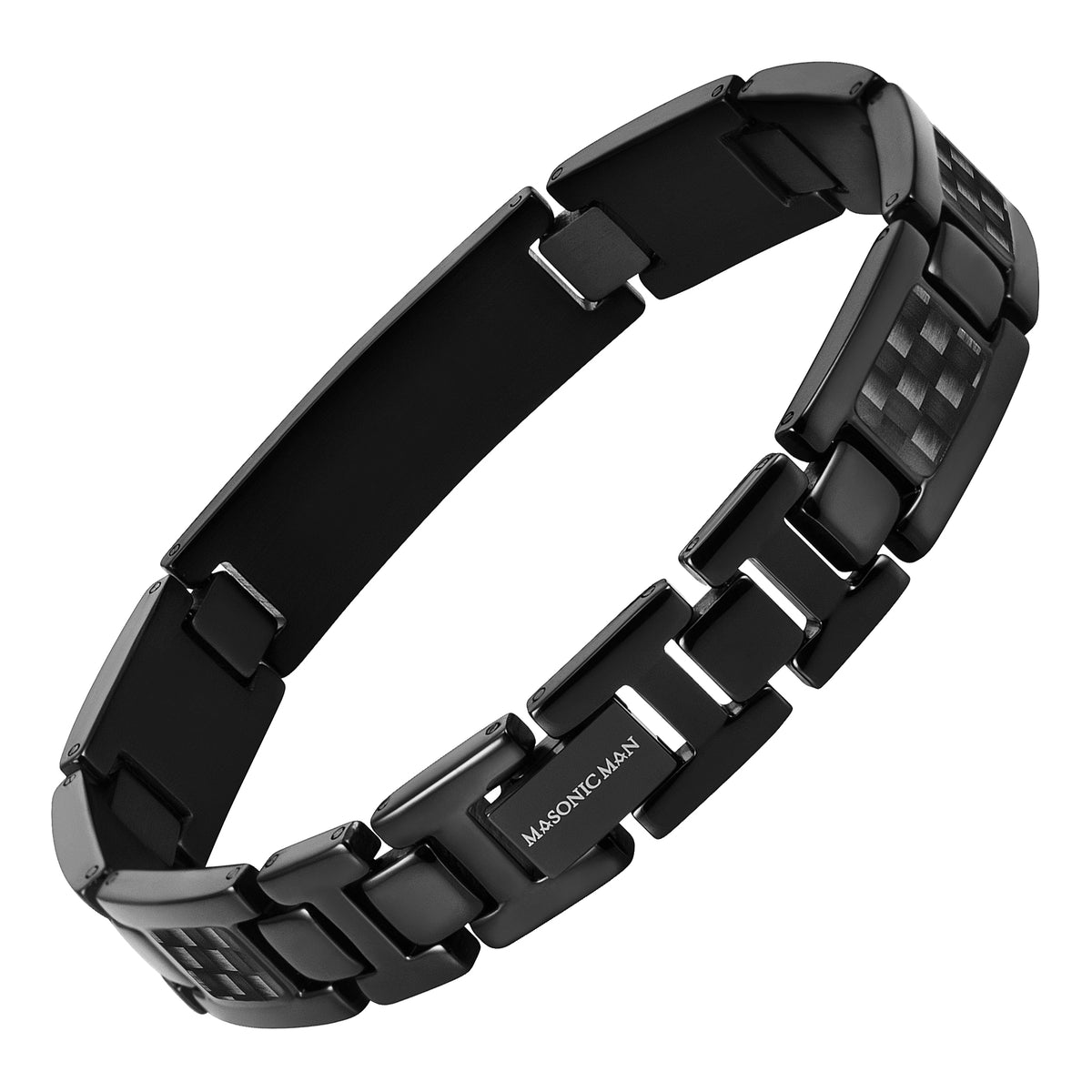 Masonic Black Titanium Bracelet with Black Carbon Fiber