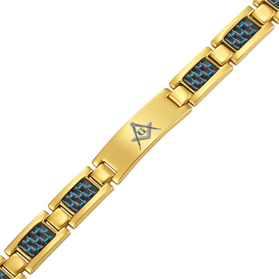 Masonic Gold Titanium Bracelet with Blue Carbon Fiber