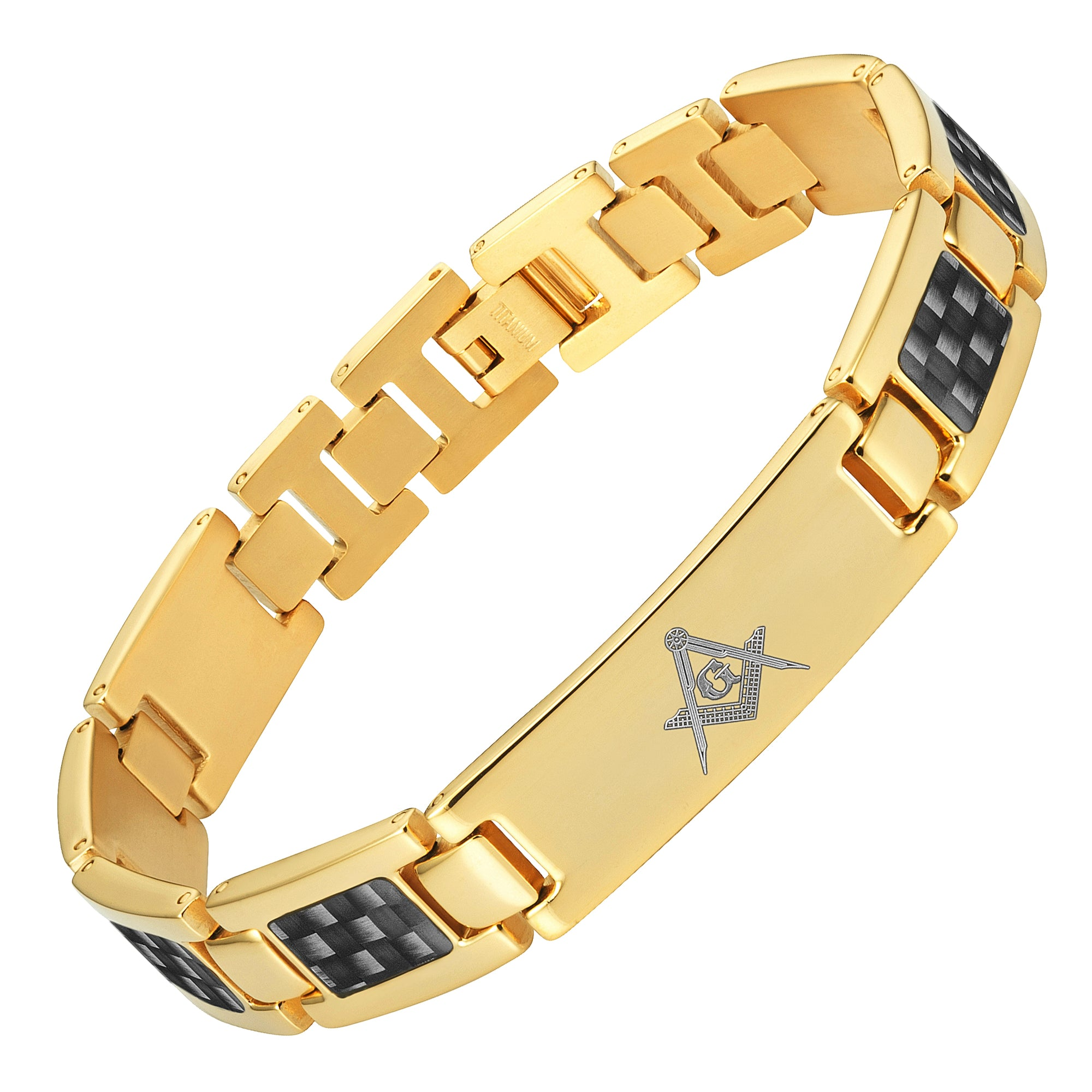 Masonic Gold Titanium Bracelet with Black Carbon Fiber