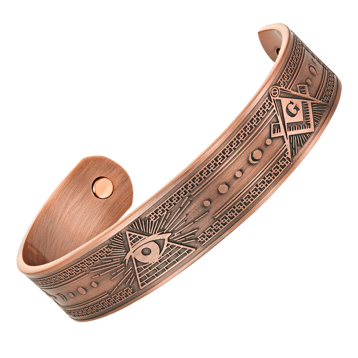 MasonicMan All Seeing Eye Engraved Pure Copper Bangle Bracelet