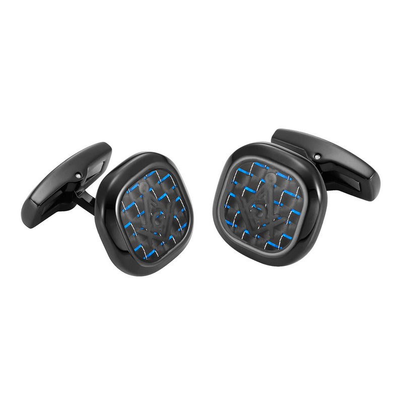 MasonicMan Stainless Steel Cufflinks with Blue Carbon Fiber