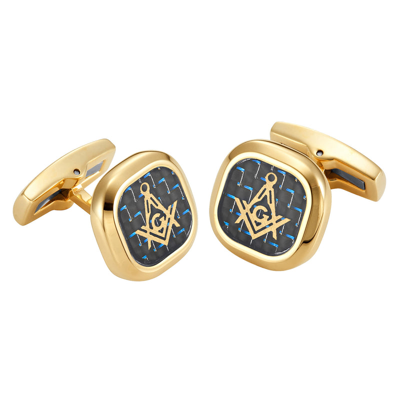 MasonicMan Cufflinks with Blue Carbon Fiber