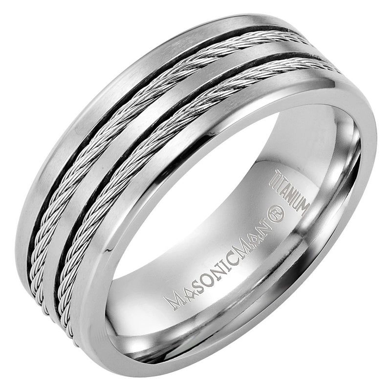 Titanium Masonic Ring Latin Engraving Inside