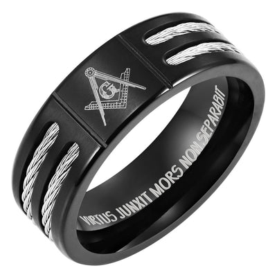 Titanium Masonic Ring Engraved Latin with Rope