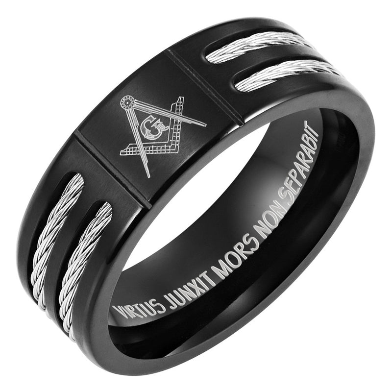 Black Titanium Masonic Ring Latin Engraving Inside