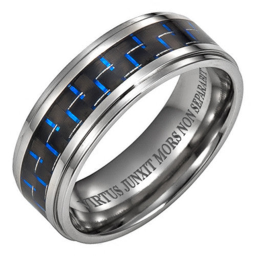 Titanium Ring with Latin Engraving With Blue Carbon Fiber
