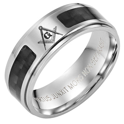 Titanium Masonic Ring with Latin Engraving and Carbon Fiber