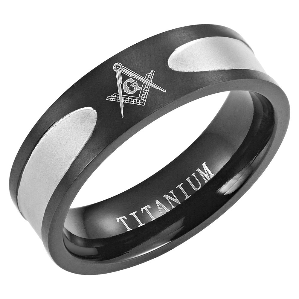 Two Tone Black Titanium Masonic Ring with Latin Engraving Inside