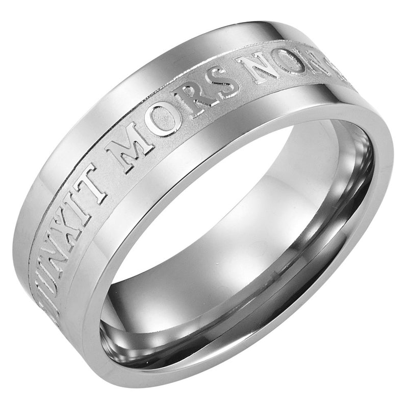 Titanium Masonic Ring Engraved with Latin