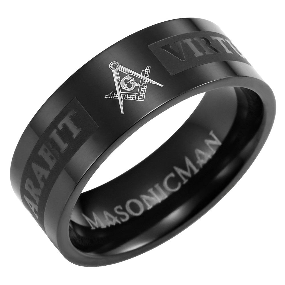 Titanium Masonic Ring Engraved Latin