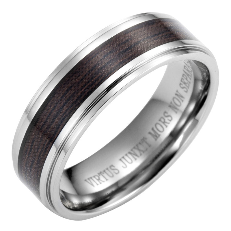 Titanium Ring with Latin Engraving With Wooden Inlay