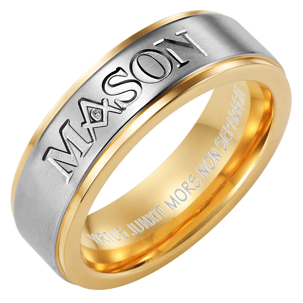 MasonicMan MASON Two Tone Titanium Ring
