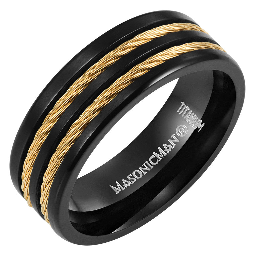 MasonicMan Gold Rope Emblem Titanium Ring