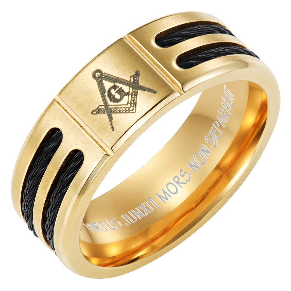 MasonicMan Black Rope Emblem Titanium Ring