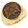 Stainless Steel Masonic Ring with Emblem and Open Bible - Gold Color