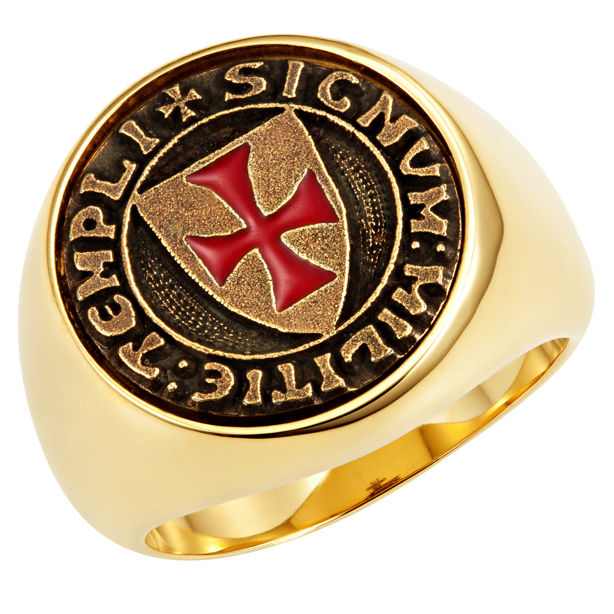 Stainless Steel Knights Templar Ring with Latin Engraving - Gold