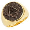 Stainless Steel Masonic Ring with Square and Compass - Gold