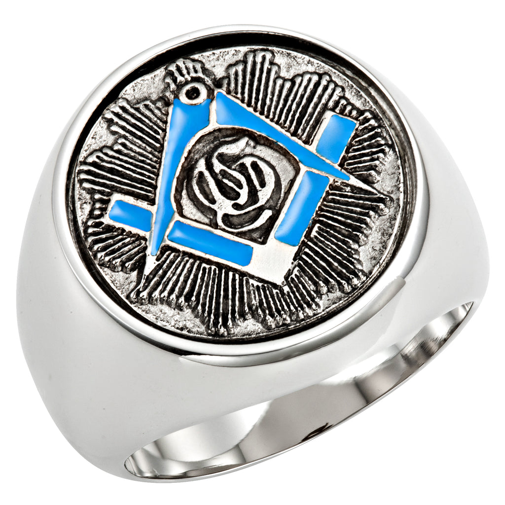 Stainless Steel Masonic Ring with Blue Square and Compass in Gift Pouch