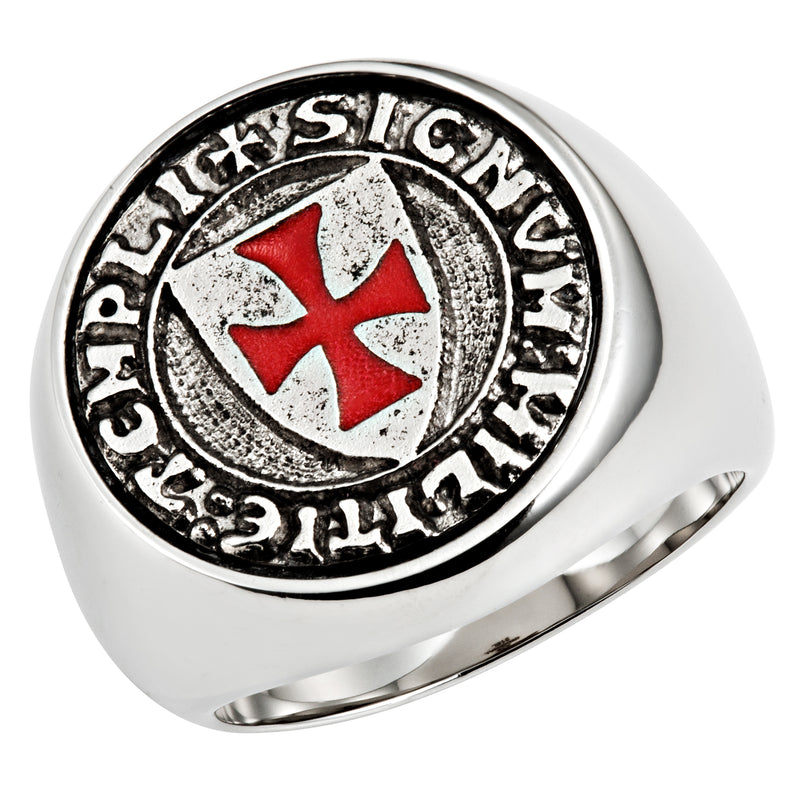 Stainless Steel Knights Templar Ring with Latin Engraving