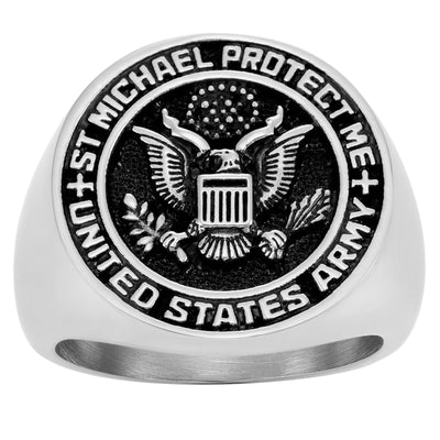 United States Army Saint Michaels Protect Us Prayer Stainless Steel Ring