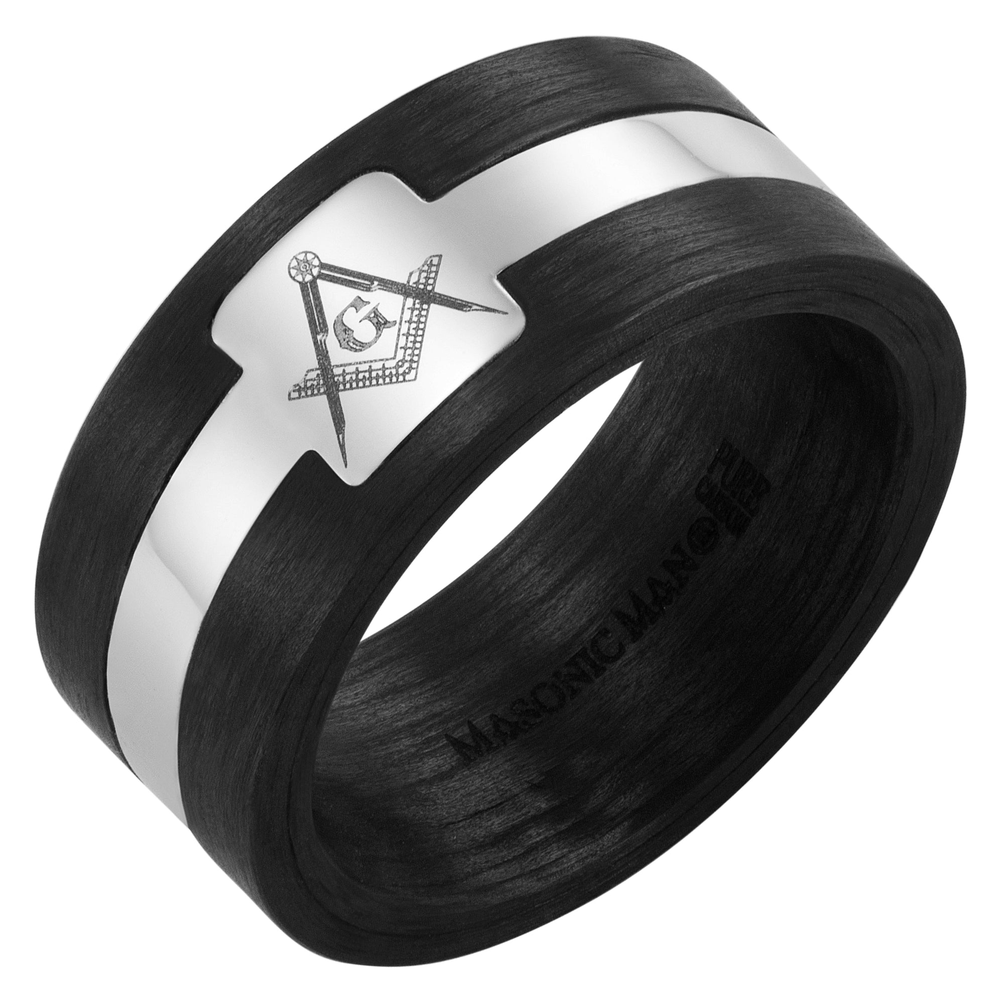 Pure Carbon Fiber 10mm Ring with Masonic Square and Compass
