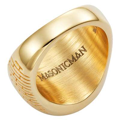 MasonicMan Square and Compass on Bible Stainless Steel Ring