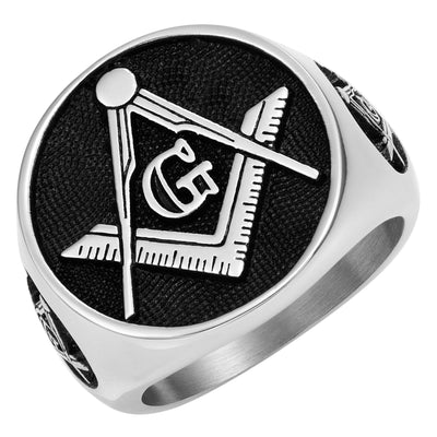MasonicMan Square and Compass Stainless Steel Ring