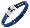 MasonicMan Leather and Stainless Steel Bracelet with Blue Carbon Fiber