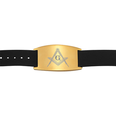 MasonicMan Leather Freemasonry Masonic Bracelet with Square and Compass in Gift Box …