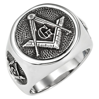 Stainless Steel Masonic Ring with Square and Compass + G in Gift Pouch