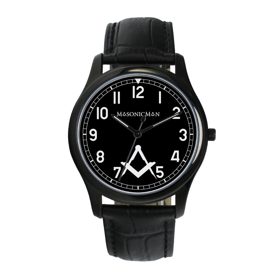 MasonicMan Square and Compass with no G 38mm Wrist Watch (2 Colors)