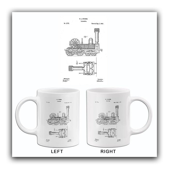 1842 - Locomotive - Train - R. L. Stevens - Patent Art Mug