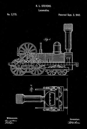 1842 - Locomotive - Train - R. L. Stevens - Patent Art Magnet
