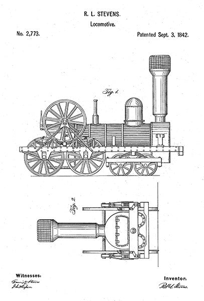 1842 - Locomotive - Train - R. L. Stevens - Patent Art Poster