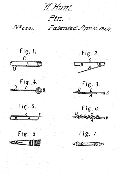 1849 - Pin - W. Hunt - Patent Art Poster