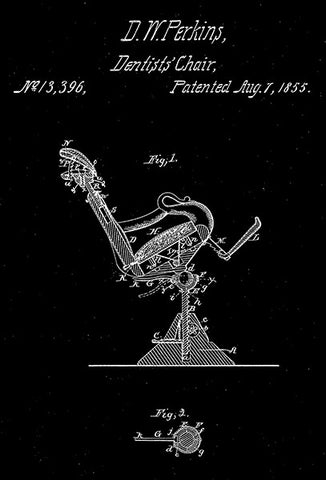 1855 - Dentists' Chair - D. W. Perkins - Patent Art Poster