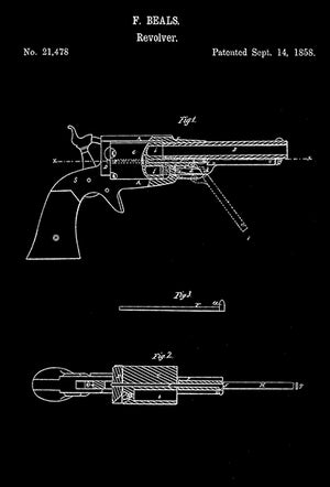 1858 - Remington Model 1858 Revolver - F. Beals - Patent Art Poster
