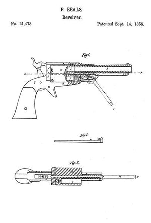 1858 - Remington Model 1858 Revolver - F. Beals - Patent Art Magnet