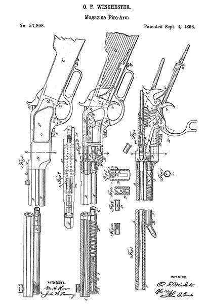 1866 - Magazine Firearm - O. F. Winchester - Patent Art Mug