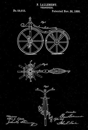 1866 - Velocipede - P. Lallement - Patent Art Poster
