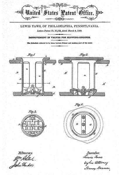 1869 - Bellows - Valves For Blowing-Engines - L. Taws - Patent Art Mug
